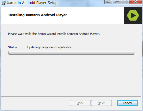 Xamarin Android Playerのインストール中